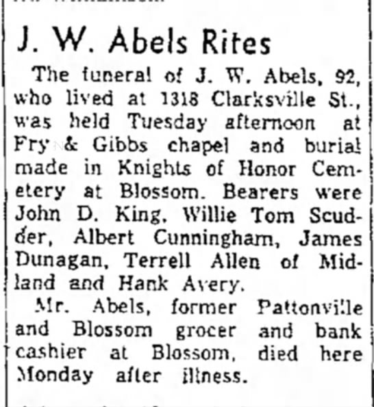 PAPPY FUNERAL - J. W. Abels Rites The funeral of J. W. Abels....