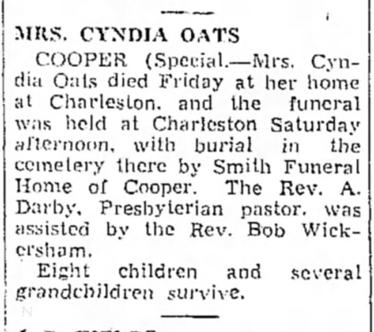 Paris News Aug 24 1941,pg 3Oats Death - IURS. CYNDIA OATS COOPER (Special.—Mrs. Cyndia...