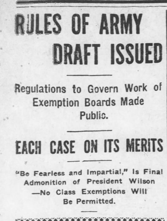 Draft exemptions - RULES OF ARMY DRAFT ISSUED Regulations to...