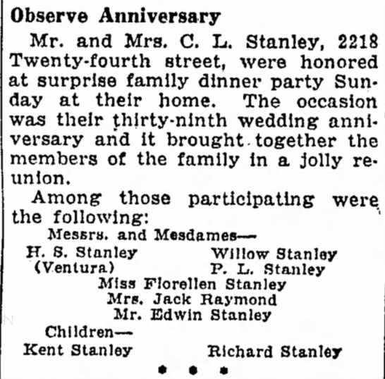- Observe Anniversary Mr. and Mrs. C. L. Stanley,...