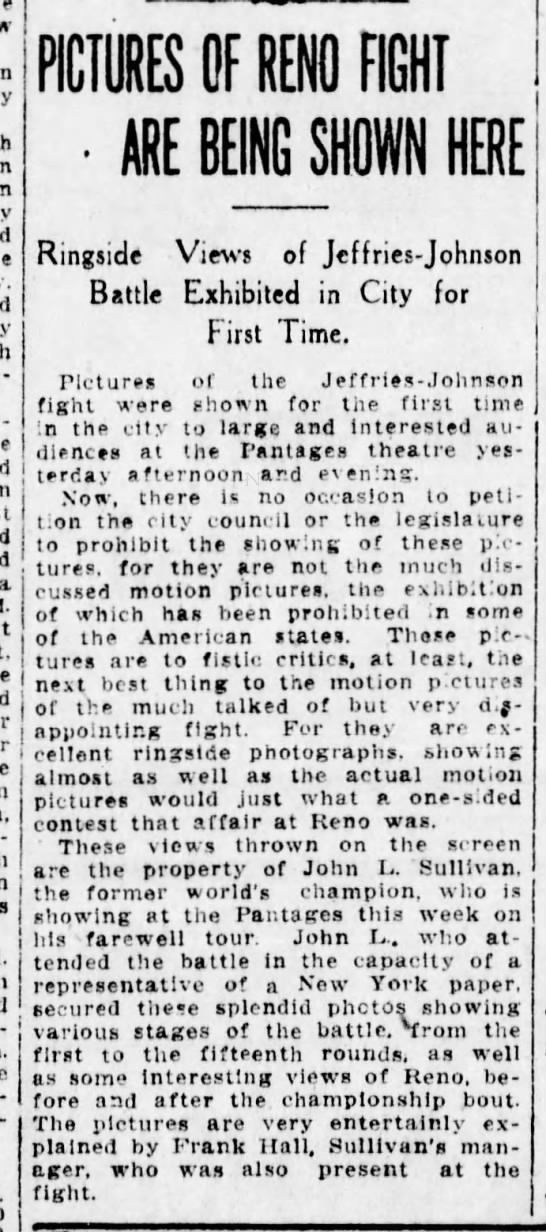 John L shows Reno photos at Pantages 15Sept1910 - a - j - - PICTURES OF RENO FIGHT ' ARE BEING...