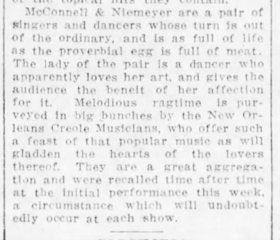 Original Creole Orchestra give several encores 3Nov1914 - McConnell & Xiemeyer are a pair of ftlngrs and...