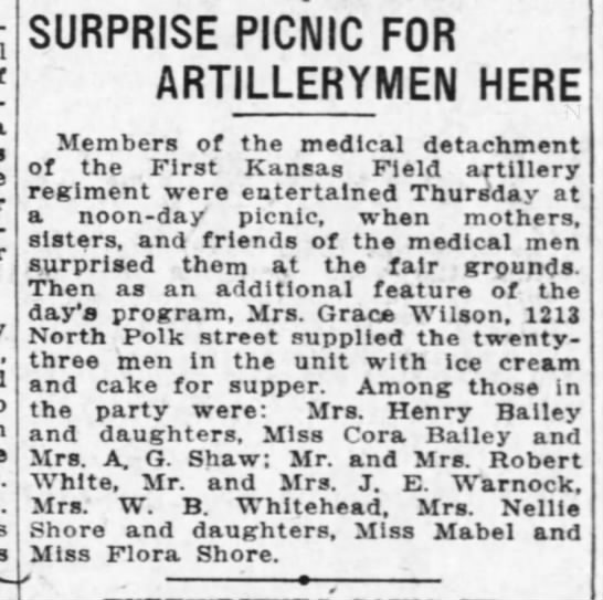 Topeka Daily Capital 8 Sept 1917 picnic for soldiers Mrs AG Shaw and Cora Bailey - SURPRISE PICNIC FOR ARTILLERYMEN HERE Members...