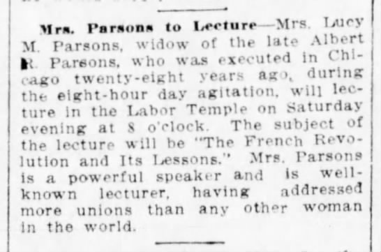 Mrs Parsons to lecture 5Jun14 - Mrs, Parsons to Ieelure Mrs. licy M. Parsons,...