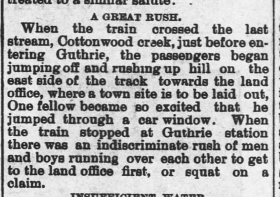 Settlers rush to stake claims in Guthrie - . A GBEAT BUSH. When the train crossed the last...