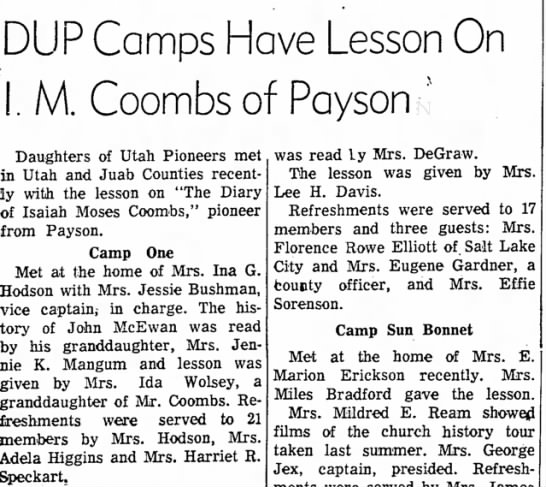History John Mc. read by Jennie Mangum, granddaughter 02-20-1958 - DUP Camps Have Lesson On I. M. Coombs of Payson...