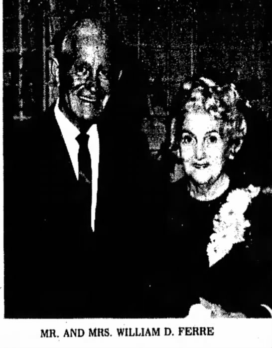30 September 1973 - MR. AND MRS. WILLIAM D. FERRE