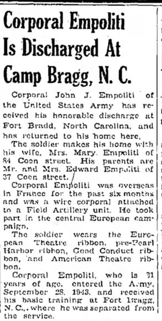 Coporal Empoliti Discharged - Corporal Empoliti Is Discharged At Camp Bragg,...