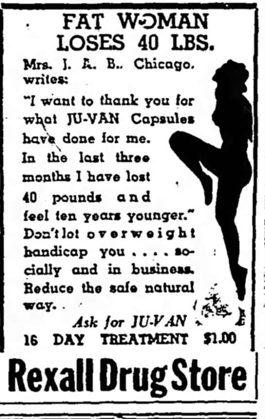 Loss weight-1941 - . FAT WOMAN LOSES 40 IBS. Mrs. I. A. B.....
