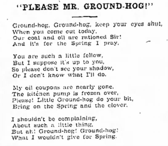 "Mr Groundhog Poem - July 1891 (1/2) - 'PLEASE MR, GROUND-HOG!"" Ground-hog;...."