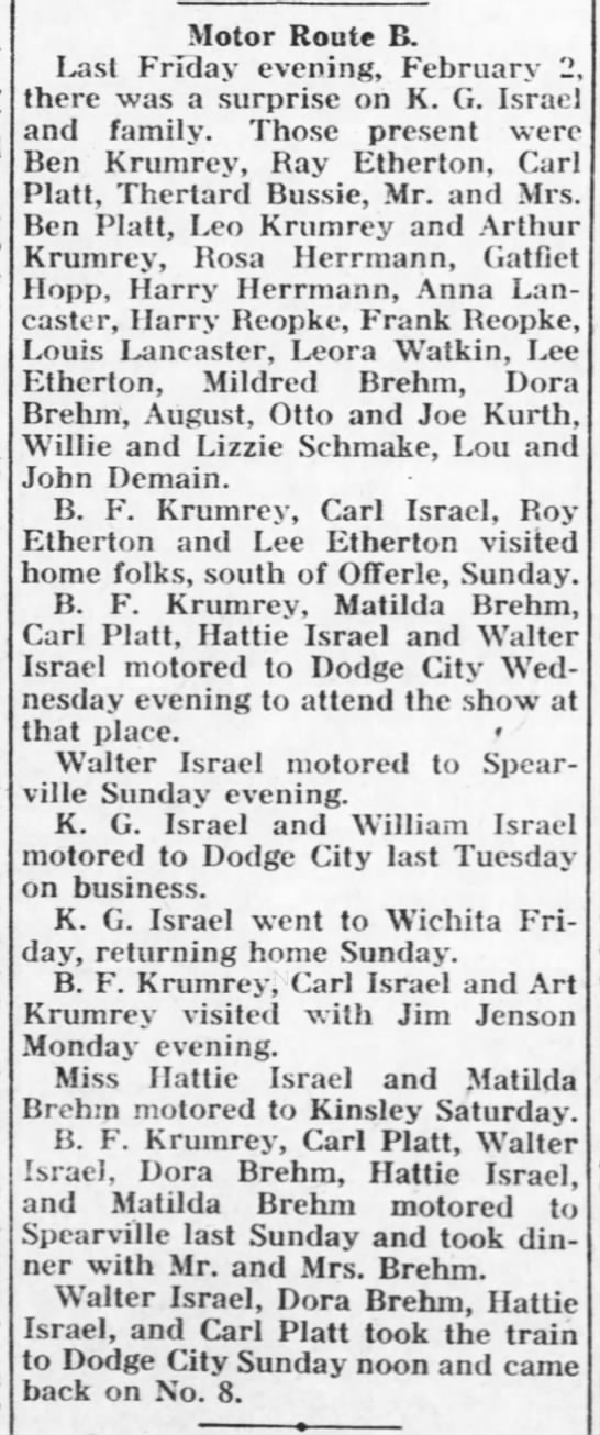 Etherton, Ray & Lee The Kinsley Graphic (Kinsley, Kansas) - 8 Feb 1917, Thur - page 8 - Motor Route B. Last Friday evening, February 2...