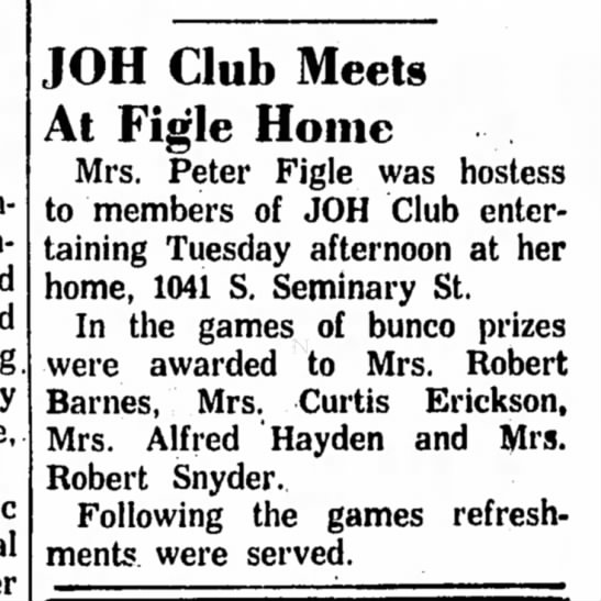 - JOH Club Meets At Figle Home Mrs. Peter Figle...