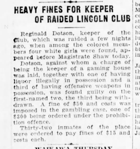 Heavy fines for Lincoln Club 24Dec19 - HEAVY FINES FOR KEEPER OF RAIDED LINCOLN CLUB...