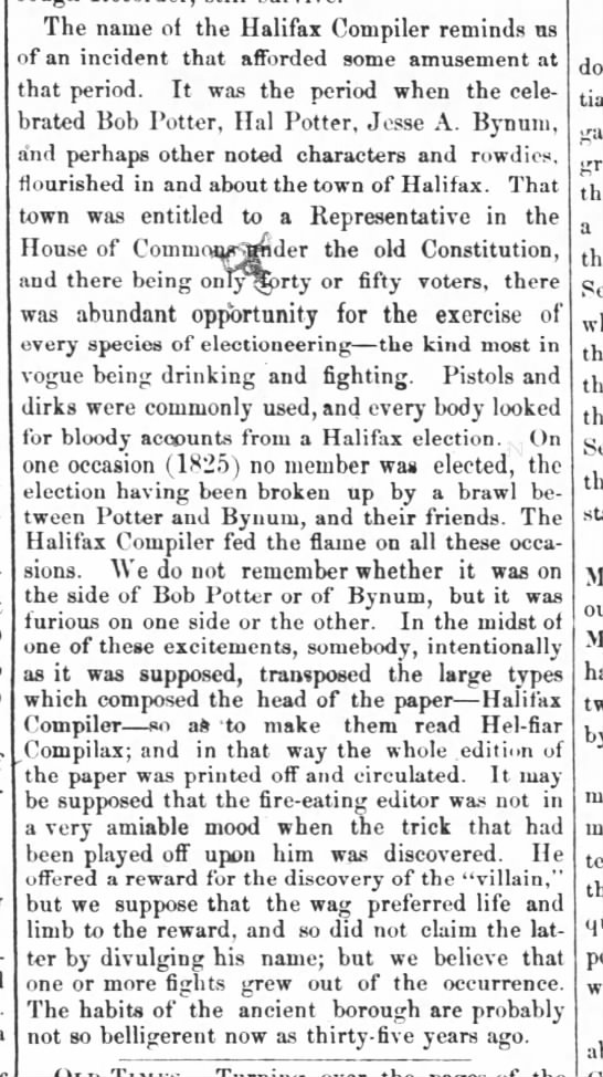 Article about Jesse Bynum and Robert Potter feud in in 1825 Halifax. - The name of the Halifax Compiler reminds us of...
