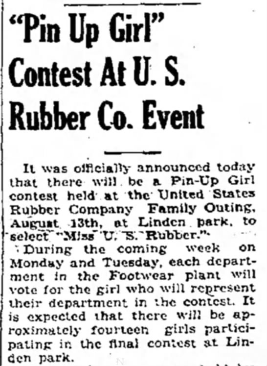 """Pin Up Girl"" Contest to Be Held at Footwear Plant - 'Tin Up Girl"" Contest At E S. Rubber Co. Event..."