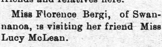 18 Aug 1903 Salisbury Truth Friend visits Lucy - Miss Florence Bergi, of Swan-nanoa, Swan-nanoa,...