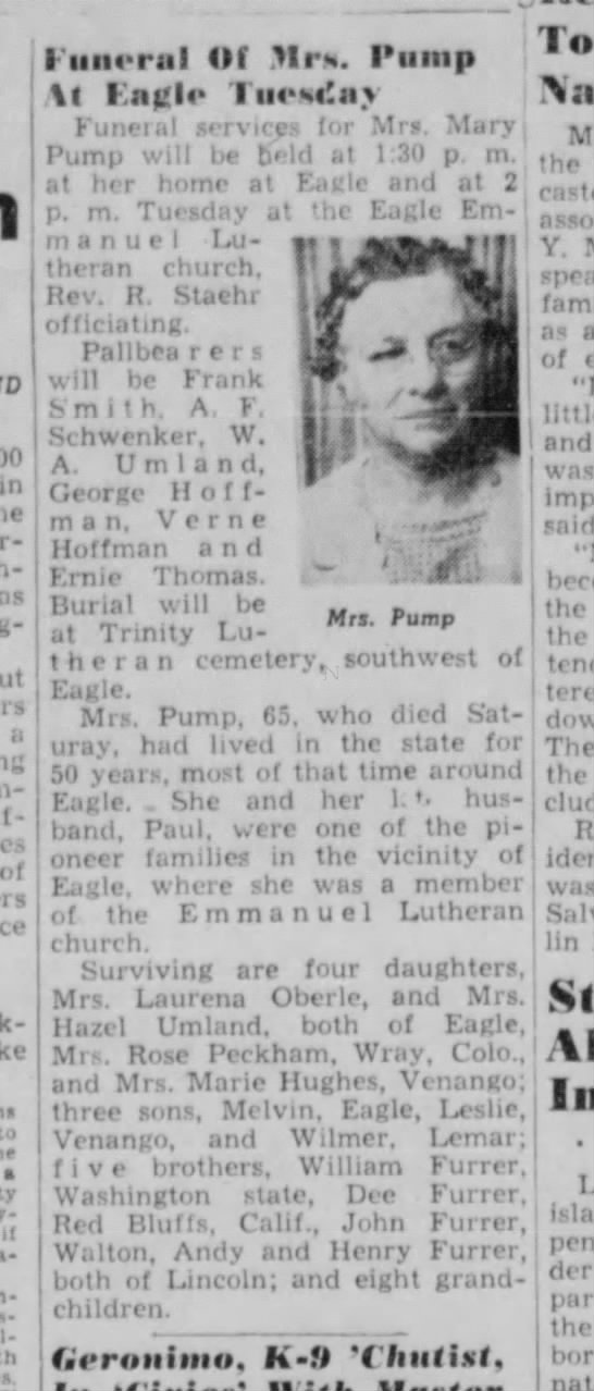 Includes photo of Mrs. Mary Pump - in s a : of to • il Mr». Pump of Of Piiiitp \l...