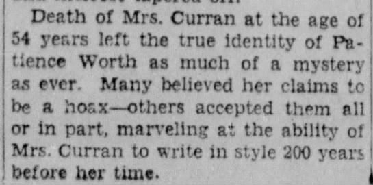 Mrs. Curran's death leaves mystery unsolved - Death of Mrs. Curran at the age of 54 years...