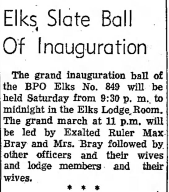 1958 Bray Elks Ball