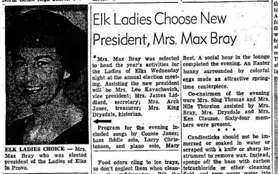 1958 Helen Bray - ELK LADIES CHOICE — Mrs. Max Bray who was...
