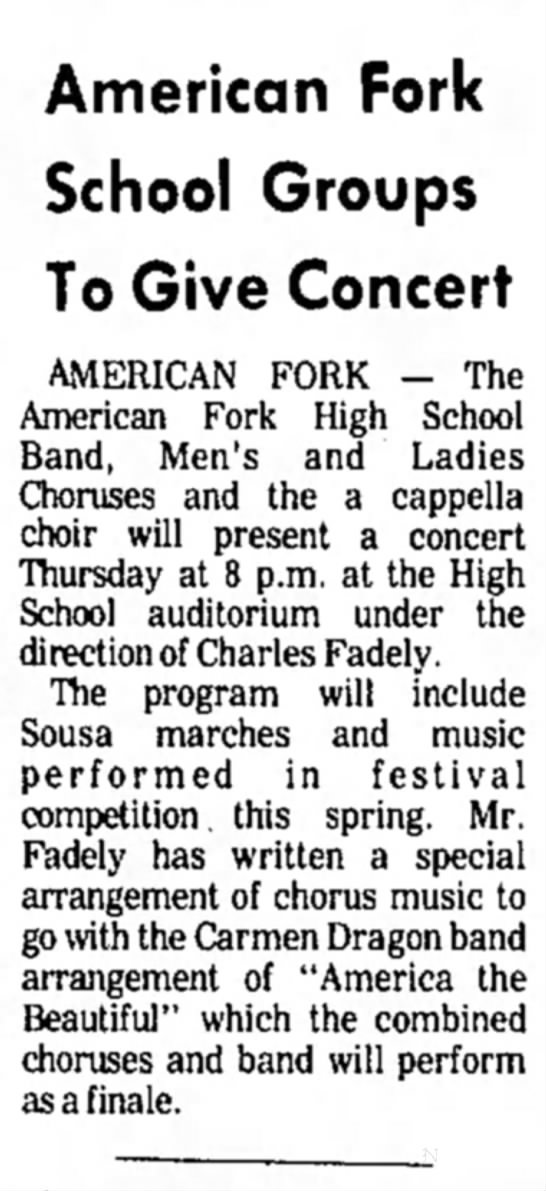 Daily Herald 05/15/74 - American Fork School Groups To Give Concert...