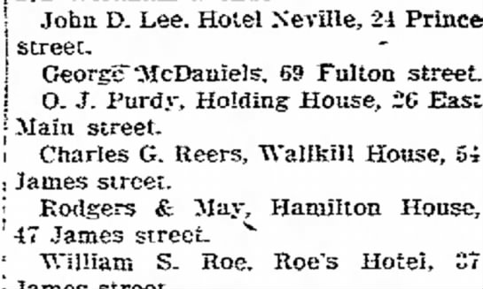 Charles G Reers, Hotel - John D. Lee. Hotel Xeville, 21 Prince, street....