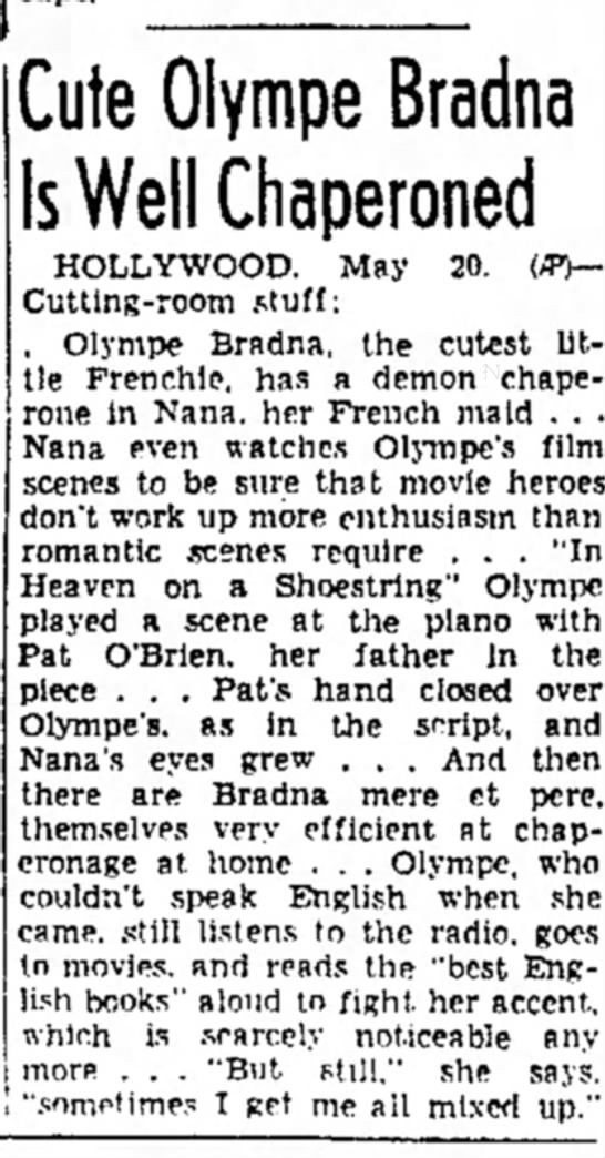 BRADNA - May 1939 - Cute Olympe Bradna Is Well Chaperoned...