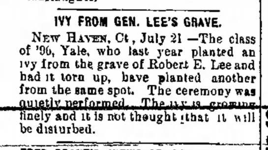 - IVY FROM GEN. LEE'S GRAVE. New Hatom, Ct , July...
