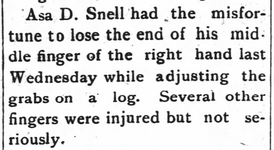 Asa D.Snell-24 Sept.1915 pg.6 Roper,NC - Asa D. Snell had .the misfortune misfortune to...