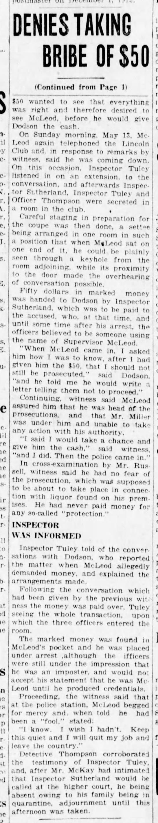 McLeod denies taking bribe from Dotson (2of2) 28May23 - - - - J. - - E. - to at D E NIES Tfl KING BRIBE...