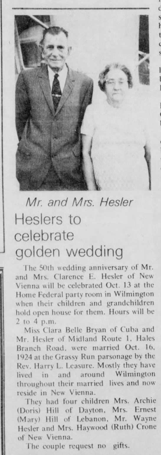 Heslers 50th Anniversary - Mr. and Mrs. Hester esiers to celebrate golden...