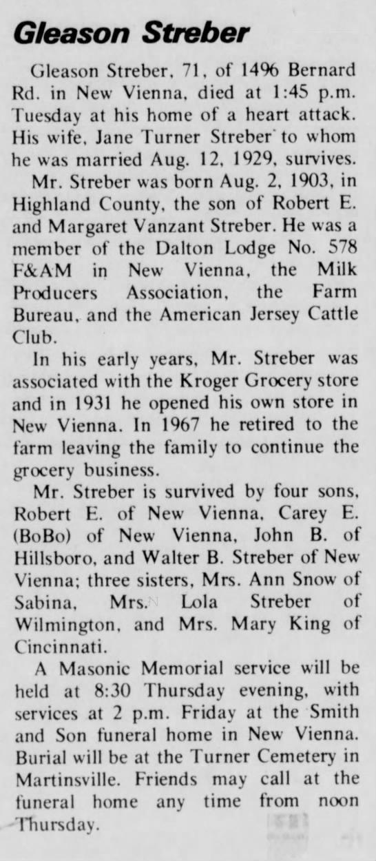 Gleason Streber 1903-1974 obituary - Gleason Streber Cjleason Streber. 71, of 14%...
