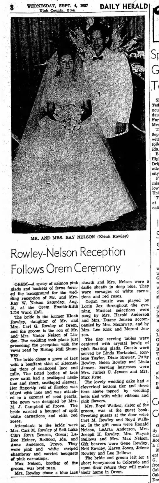 Ray/KleahNelson Wedding Announcement 4/Sep1957 - 8 WEDNESDAY, SEPT. 4, 1957 Utah County. Utah...