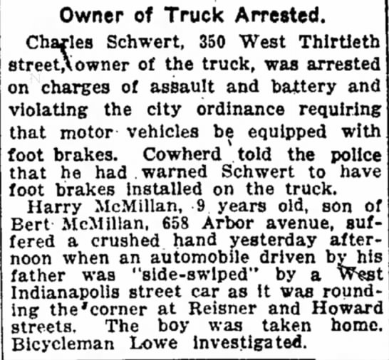 Harry McMillan Hurt - Owner of Truck Arrested. Charles Schwert, 350...