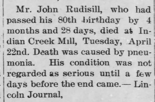 1902 Rudisill,John OBIT - Mr. John Rudisill, who had passed his 80th...