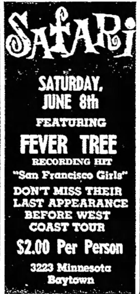 - SATURDAY. JUNE 8Hi FEATUBING FEVER TREE...