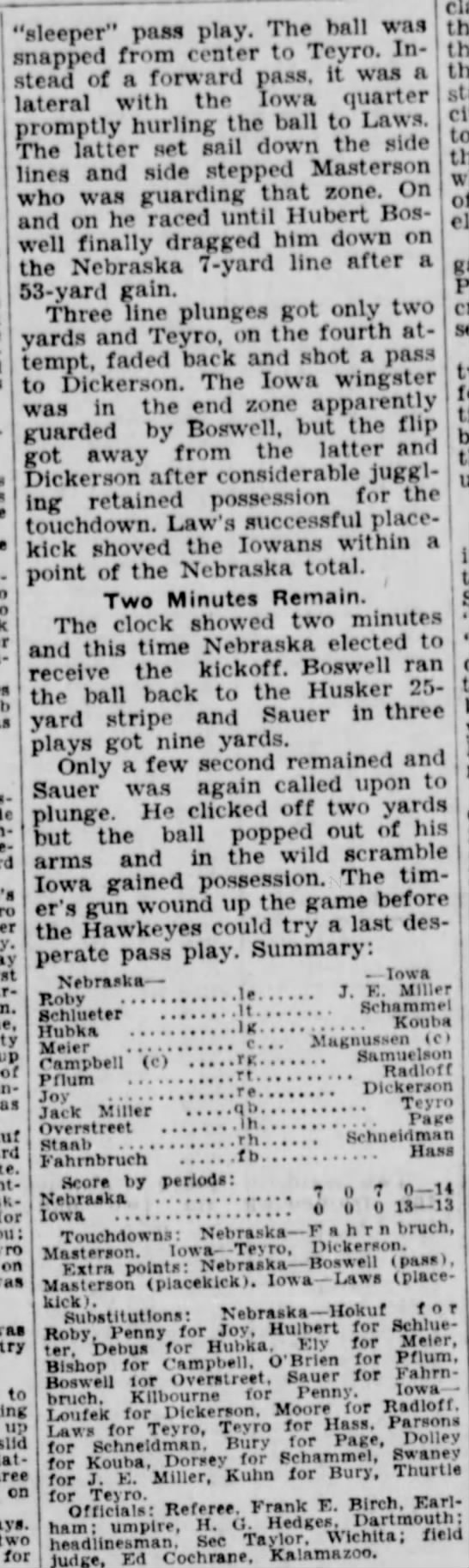 "1932 Nebraska-Iowa part 4 - 'sleeper"" paa« play. The hall was lateral with..."