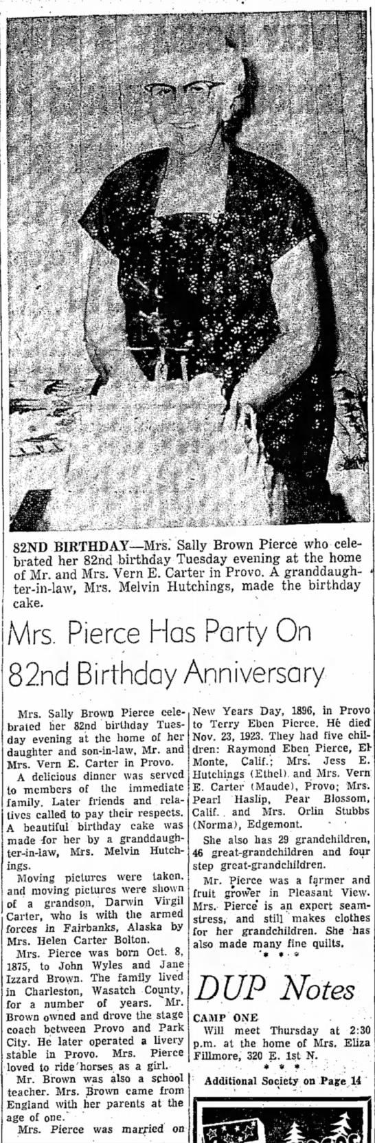 Great, Great G'ma Pierce 82 B Day - 82ND BIRTHDAY— Mrs. Sally Brown Pierce who...