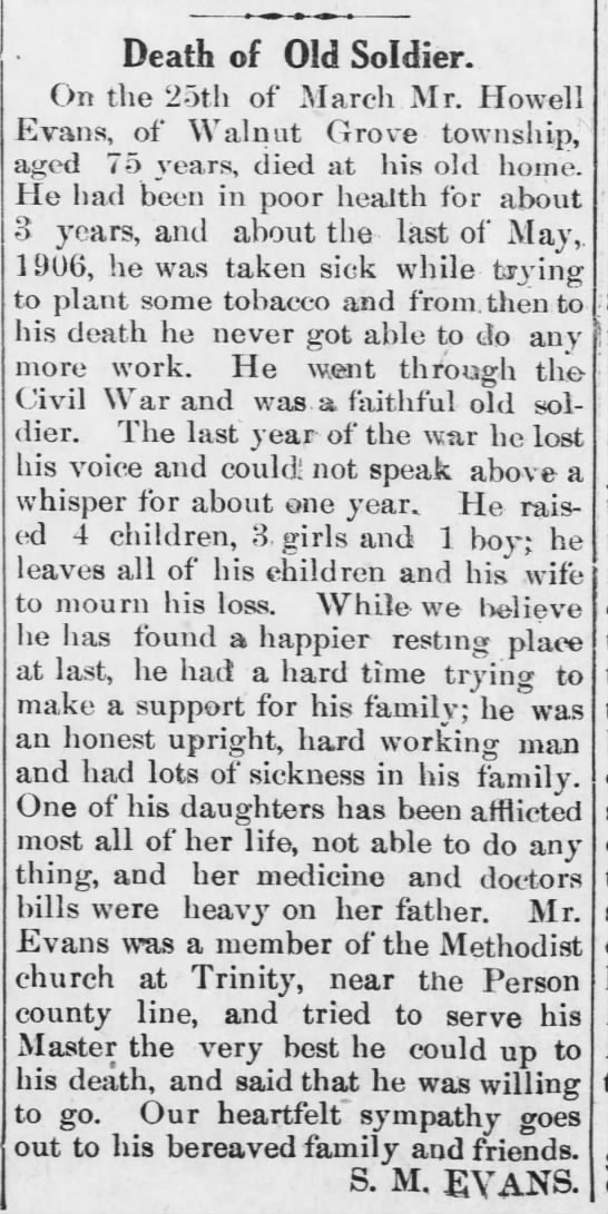 Howell Evans Death (19 Apr 1907, Oxford Public Ledger, Oxford, NC) - Death of Old Soldier. On the 25th of March Mr....