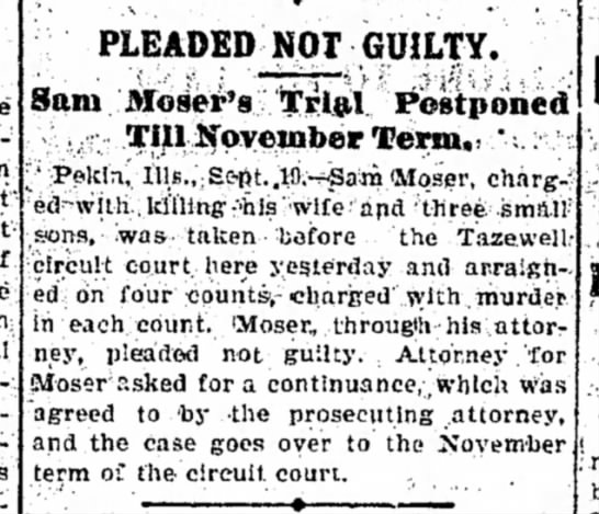 "Trial postponed until Nov 9.19.1900 Decatur, IL - -con:, from most mine confined be""""Ing PLEADED..."