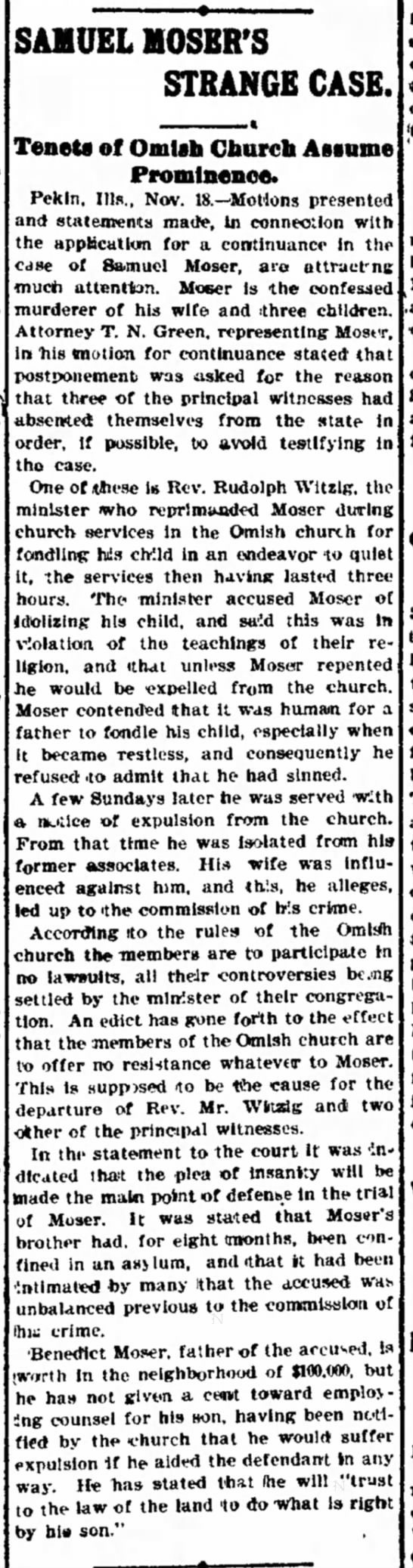 Decatur Illinois Moser case 11.19.1900 - Is the Dart. go be to- had been of to Â«s- rw-...