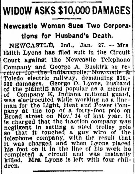 Edith Green Lyons sues - warm WIDOW ASKS $10,000 DAMAGES Newcastle Woman...