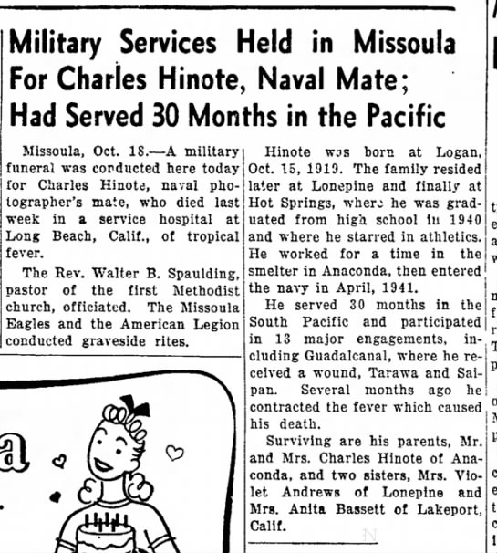 Independent Record, Helena, MT. Charles Hinote Death 18 Oct 1944 - a The wife Military Services Held in Missoula...