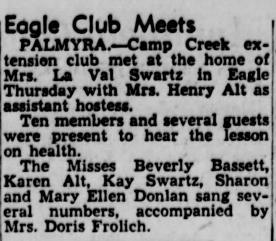 Mary Ellen - Eogit Club AAotts PALMYRA.—Camp CrMk extension...