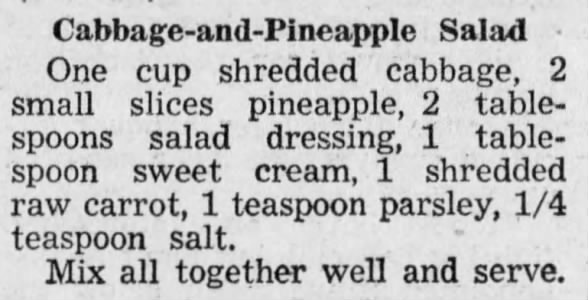 Junior Recipes: Cabbage-and-Pineapple Salad, 1950