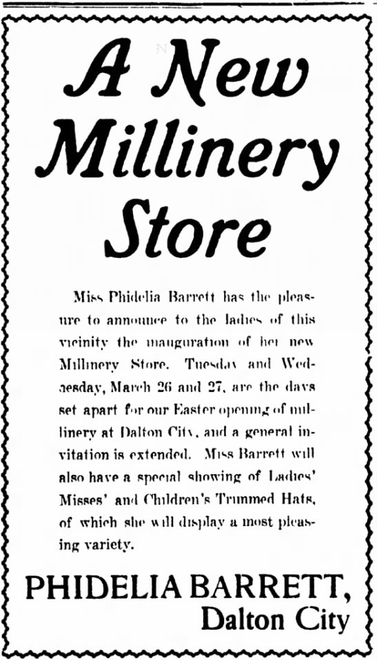 New Millinery Store, owner