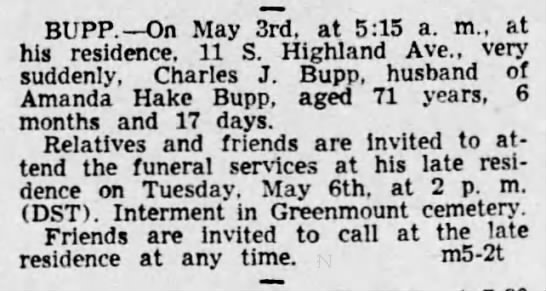 Charles Bupp death notice-May 1941 - BUPP. On May 3rd. at 5:15 a. m., at his...