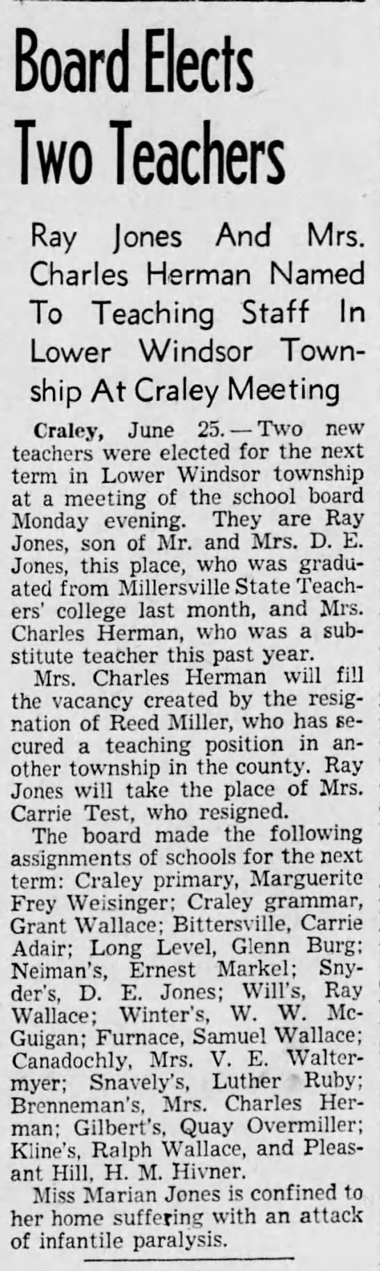 Ray Jones (1922-1996) Elected to School Board - Board Elects Two Teachers Ray Jones And Mrs....