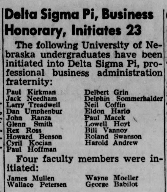 Cyril Kocian in UN Fraternity from Lincoln Star - 26 May 1953 - Delta Sigma Pi, Business Honorary, Initiates 23...