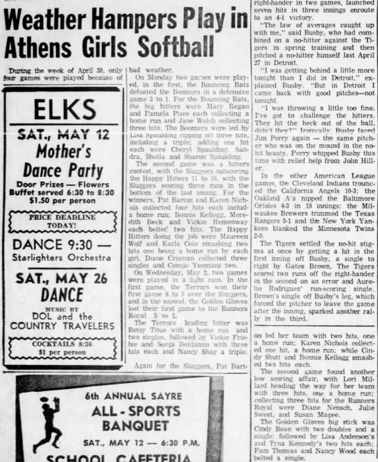 May 10, 1973 Karen - Weather Hampers Play in Athens Girls Softball...